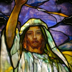 Detail of Sermon on the Mount window by Robert Reid